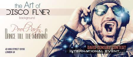 DJ 모양과 음악과 함께 디스코 나이트 클럽 전단 레이아웃 이벤트 포스터, 클럽 광고, 나이트 경연 대회 홍보 및 초대 사용하는 요소를 테마.