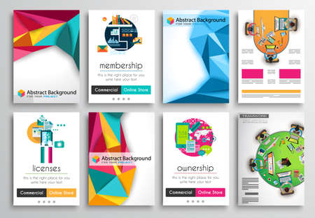 Set of Flyer Design, Web Templates. Brochure Designs, Technology Backgrounds. Mobile Technologies, Infographic  ans statistic Concepts and Applications covers. Stock Illustratie