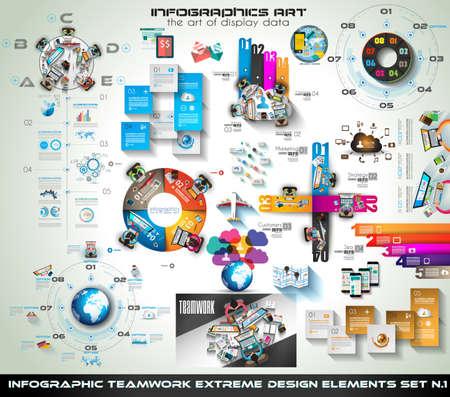travail d équipe: Travail d'équipe Infographie Mega Collection: brainstorming icônes avec un style plat. Un grand nombre d'éléments de conception sont inclus: ordinateurs, appareils mobiles, les fournitures de bureau, crayon, tasse de café, statistiques, graphiques, feuilles, documents, etc.