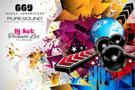 Diseño Disco Night Club Flyer con forma de DJ y música elementos temática de usar para Póster, Club de publicidad, promociones del Concurso La noche y las invitaciones. Ilustración de vector