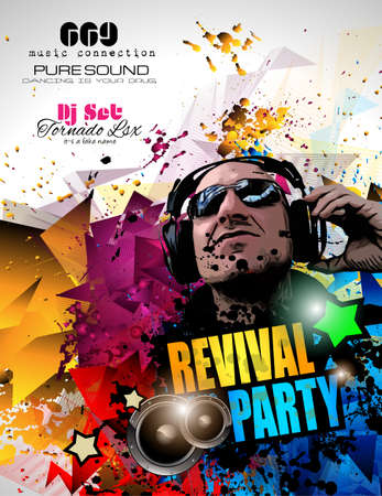 Disco Night Club Flyer layout with DJ shape and music themed elements to use for Event Poster, Club advertisement, Night Contest promotions and Invitations.