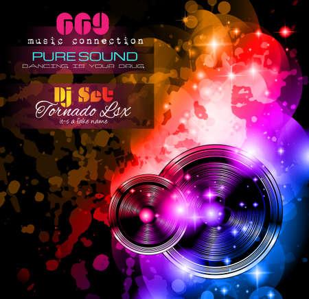 Disco-Nachtclub Flyer-Layout mit Musik Themen-Elemente für Event Poster, Club-Anzeige, Nacht Contest Aktionen und Einladungen zu verwenden.