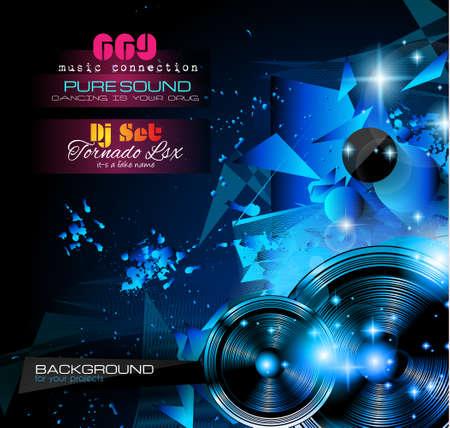 Layout Disco Night Club Flyer con musica a tema elementi da utilizzare per eventi Poster, Club pubblicità, promozioni Notte Contest e inviti. Vettoriali