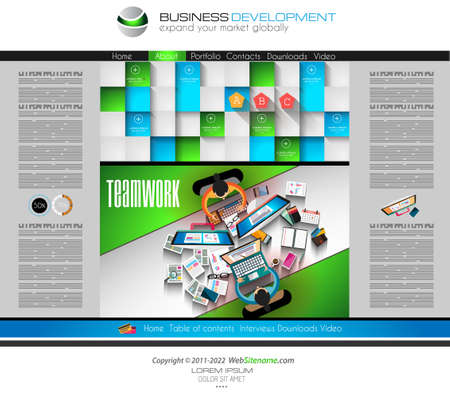 webtemplate: Modern website template with flat style infographics layout for your project. It includes laptop and mobile devices mockup, computers and desk supplies designs.