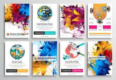 Set Flyer Druck, Web Templates. Broschüre Designs, Technologie Hintergründe. Mobile Technologien, Informationsgrafik ans statistische Konzepte und Anwendungen abdeckt. Illustration