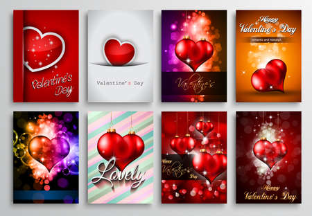 affair: Set of Valentines Flyer Design, Invitation Cards Templates. Brochure Designs, Love Backgrounds. magazine covers or lover affair themed pages. Illustration