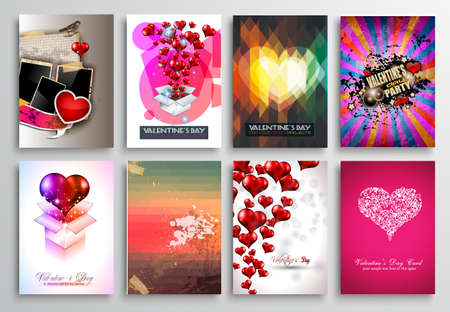 a meeting with a view to marriage: Set of Valentines Flyer Design, Invitation Cards Templates. Brochure Designs, Love Backgrounds. magazine covers or lover affair themed pages. Illustration