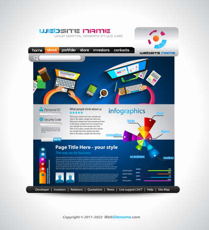 webtemplate: Flat Style Website Template - Elegant Design for Business Layouts Template with a lot of design elements and infographics and long shadow items.