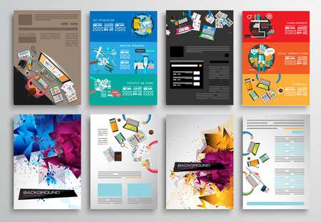 チラシのデザインは、Web テンプレートのセットです。3 折パンフレットのデザイン、技術。モバイル技術、インフォ グラフィック ans 統計概念とア  イラスト・ベクター素材