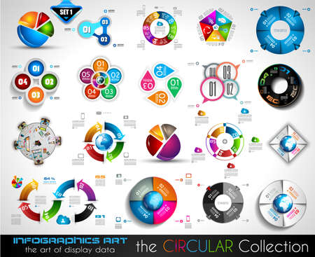 Vector Circular Infographics BIG collection for your graphs, product ranking, items classification, business presentation, high tech flyers or brochures. Illustration