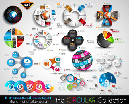 financial team: Vector Circular Infographics BIG collection for your graphs, product ranking, items classification, business presentation, high tech flyers or brochures. Illustration