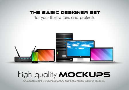 당신의 사업 프로젝트를위한 현대 장치 모형. 일반적인 표정으로 노트북, 데스크톱 컴퓨터, 서버, 모뎀 라우터, 태블릿과 스마트 폰의 설정. 일러스트