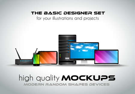 Modern devices mockups for your business projects. Set of laptop, desktop computer, server, modem router, tablet and smartphone with generic look.