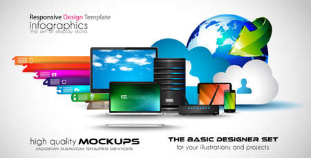 office computer: Infographic teamwork and brainstorming with Flat style. A lot of design elements are included: computers, mobile devices, desk supplies, pencil,coffee mug, sheets,documents and so on