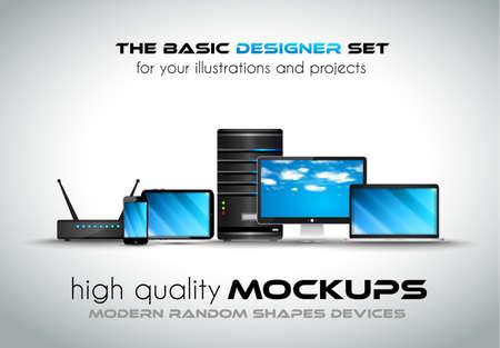 componentes: Los dispositivos modernos maquetas para sus proyectos empresariales. Conjunto de ordenador portátil, ordenador de sobremesa, servidor, módem router, tableta y smartphone con aspecto genérico.