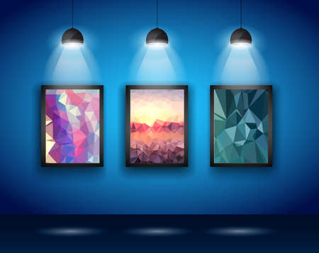 exhibition: Spotlights Wall with Low Poly Arts to use for product advertisement, shop simulations, item promotions, packaging show and so onpresentation; realistic; art; expo; show; spotlights; abstract; template; frame; bookshelf; illuminated; store; museum; furnitu