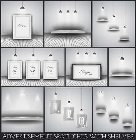 Collection of spotlights and shelves for product advertisement, shop simulations, item promotions, packaging show and so on Vector