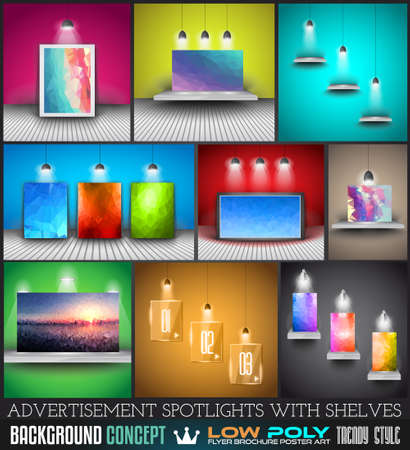 simulations: Collection of spotlights with panels with Low Poly arts for product advertisement, shop simulations, item promotions, packaging show and so on