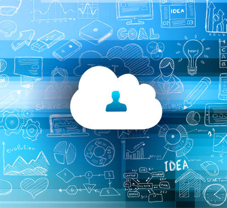 cloud computing: Cloud Computing concept with infographics sketch set: design elements isolated, vector shapes. It include lots of icons included graphs, stats, devices,laptops, clouds, concepts and so on.