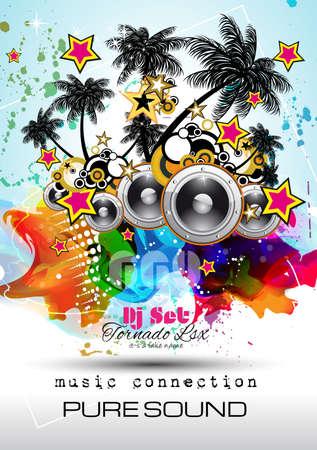 Disco Night Club Flyer lay-out met Speaker vorm en muziek thema-elementen te gebruiken voor Event Poster, Club reclame, Night Contest promoties en uitnodigingen.