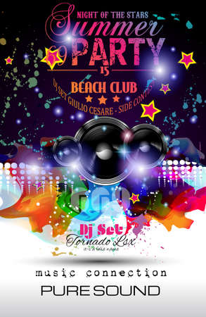 disk jockey: Disco Night Club Flyer layout with Speaker shape and music themed elements to use for Event Poster, Club advertisement, Night Contest promotions and Invitations.