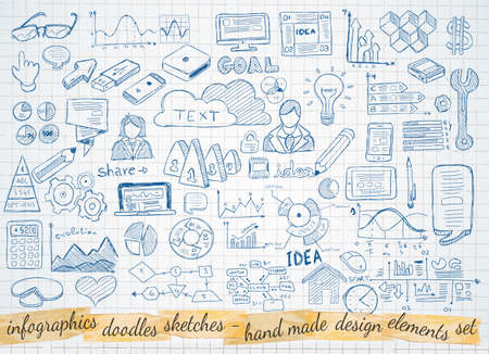 boceto: Garabatos de negocio conjunto de dibujos: elementos infogr�ficos aislados, formas vectoriales. Se incluye un mont�n de iconos incluidos gr�ficos, estad�sticas, dispositivos, ordenadores port�tiles, las nubes, los conceptos y as� sucesivamente.