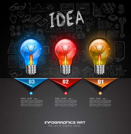 bocetos de personas: Diseño de Infografía de lluvia de ideas Concepto de fondo con gráficos bocetos. Una gran cantidad de infografía dibujados a mano y elementos de diseño relacionados se incluyen además de la lámpara brillante 3D.