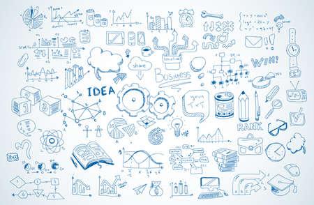 教育: 商務塗鴉素描集:信息圖表元素孤立,矢量形狀。它包括大量的圖標包括圖表,統計數據,設備,筆記本電腦,雲,概念等。