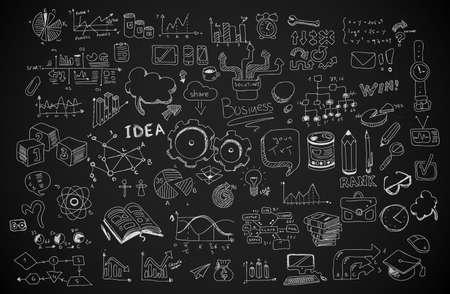 Garabatos de negocio conjunto de dibujos: elementos infográficos aislados, formas vectoriales. Se incluye un montón de iconos incluidos gráficos, estadísticas, dispositivos, ordenadores portátiles, las nubes, los conceptos y así sucesivamente. Foto de archivo - 37025808