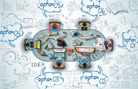 Infografik Teamwork mit Business Kritzeleien Sketch Hintergrund: Infografik Vektor-Elemente isoliert. Es sind viele Symbole enthalten Diagramme, Statistiken, Geräte, Laptops, Wolken, Konzepte und so weiter. Illustration