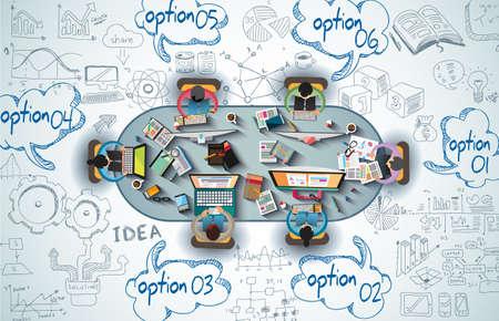 Infographies travail d'équipe avec des griffonnages d'affaires fond Sketch: infographie éléments vectoriels isolés,. Il comprend beaucoup d'icônes graphiques inclus, statistiques, des appareils, des ordinateurs portables, des nuages, des concepts et ainsi de suite. Illustration