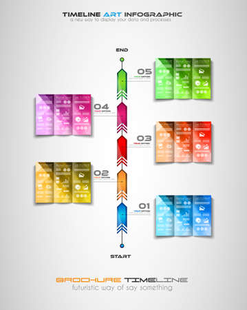 infocharts: Timeline with Infographics design elements for brochures, data display, infocharts, business backgrounds, branstorming meetings, presentations and so on. Illustration