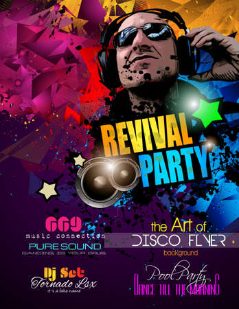 disk jockey: Disco Night Club Flyer layout with Disck Jockey shape and music themed elements to use for Event Poster, Club advertisement, Night Contest promotions and Invitations.