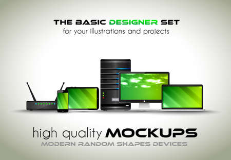 smartphone business: Modern devices mockups for your business projects. Set of laptop, desktop computer, server, modem router, tablet and smartphone with generic look.