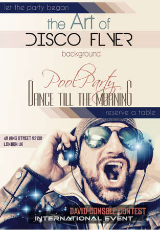 club: Disco Night Club Flyer layout with Disck Jockey shape and music themed elements to use for Event Poster, Club advertisement, Night Contest promotions and Invitations.