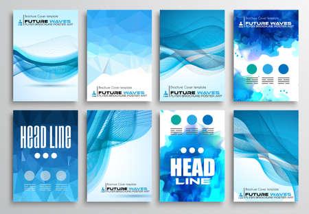 Set van Folders, Infographics Brochure ontwerpen, technologie achtergronden. Mobile Technologies, Teamworksand statistiek Concepten en toepassingen dekt. Stock Illustratie