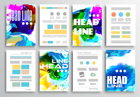 graphic display cards: Set of Flyer Design, Infographics Brochure Designs, Technology Backgrounds. Mobile Technologies, Teamworksand statistic Concepts and Applications covers. Illustration