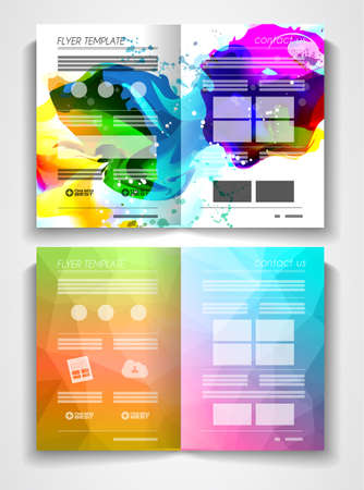 publisher: Vector tri fold brochure template design or flyer layout to use for business applications, magazines, advertising, product sheets, item notes, event flyers or meeting invitations. Illustration
