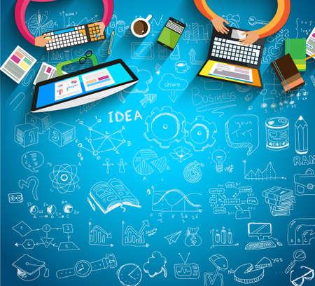 trabajo en equipo: Infograf�a Trabajo en equipo con garabatos negocio fondo Sketch: infograf�as elementos vectoriales aislados,. Se incluye un mont�n de iconos incluidos gr�ficos, estad�sticas, dispositivos, ordenadores port�tiles, las nubes, los conceptos y as� sucesivamente.