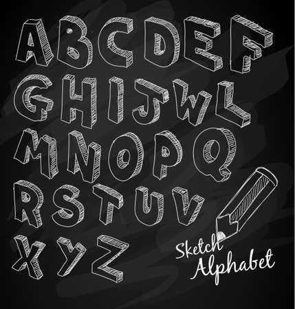 Hand Drawn 3D sketch alphabet Over a chalkboardwith squared vintage background. Vector