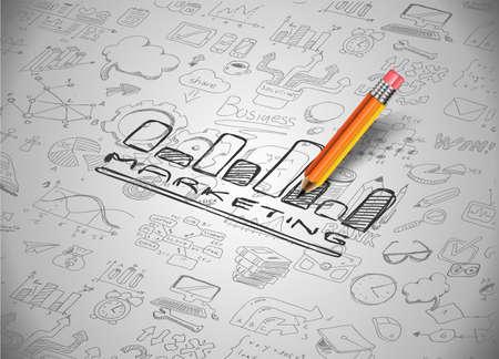 Infographic Lay-out voor Marketing Concept achtergrond met grafieken schetsen. Veel van de hand getrokken infographics en bijbehorende elementen zijn opgenomen Stock Illustratie