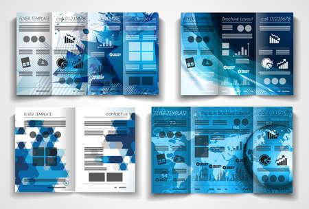 Vector tri fold brochure sjabloon ontwerp of flyer lay-out te gebruiken voor zakelijke toepassingen, tijdschriften, reclame, product sheets, nota's, gebeurtenis folders of uitnodigingen voor vergaderingen.