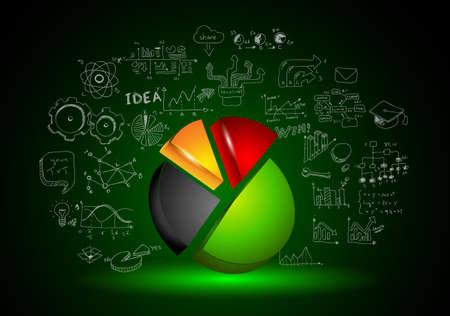 Infographic teamwork en brainstormen met Sketches. Een veel design elementen aanwezig zijn: computers, mobiele apparaten, bureau benodigdheden, potlood, koffiemok, hand getrokken spul, lakens, documenten en ga zo maar door Vector Illustratie