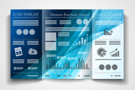 book publisher: Vector tri fold brochure template design or flyer layout to use for business applications, magazines, advertising, product sheets, item notes, event flyers or meeting invitations. Illustration