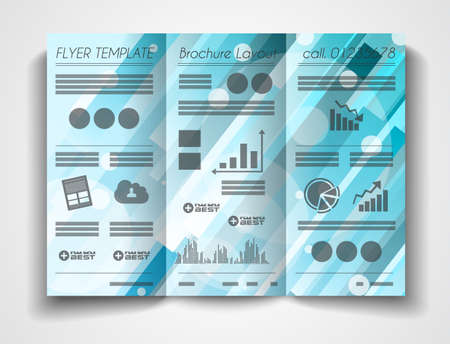 the publisher: Vector tri fold brochure template design or flyer layout to use for business applications, magazines, advertising, product sheets, item notes, event flyers or meeting invitations. Illustration