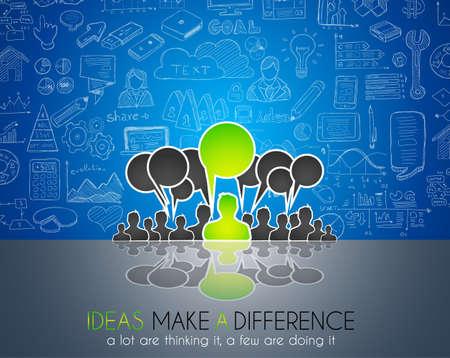 gente comunicandose: Trabajo en equipo Reuni�n de reflexi�n el concepto de comunicaci�n de arte. Las personas que se comunican en todo el mundo con una gran cantidad de ideas y posibles soluciones