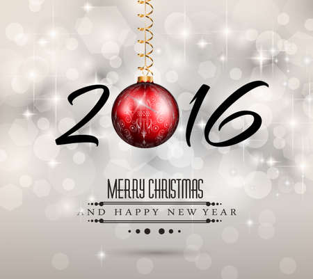 2016 New Year and Happy Christmas background for your flyers, invitation, party posters, greetings card, brochure cover or generic banners. Illustration