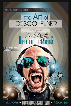 disco parties: Dise�o Disco Night Club Flyer con forma de DJ y m�sica elementos tem�tica de usar para P�ster, Club de publicidad, promociones del Concurso La noche y las invitaciones.
