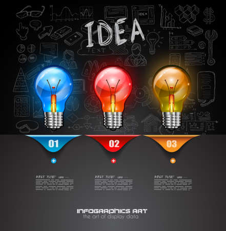 Infographic Layout for Brainstorming Concept background with graphs sketches. A lot of hand drawn infographics and related design elements are included plus 3D glossy lamp.