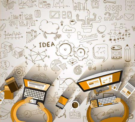 bocetos de personas: Infograf�a Trabajo en equipo con garabatos negocio fondo Sketch: infograf�as elementos vectoriales aislados,. Se incluye un mont�n de iconos incluidos gr�ficos, estad�sticas, dispositivos, ordenadores port�tiles, las nubes, los conceptos y as� sucesivamente.
